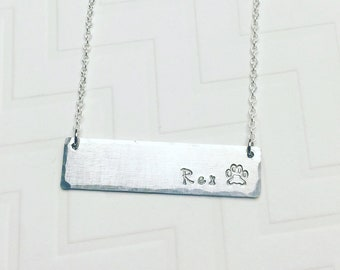 Dog Name Necklace - Hand Stamped Personalized - Puppy Necklace - Paw Necklace - Memorial Necklace - Silver Bar Necklace