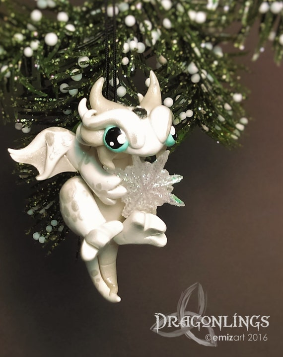 Polymer Clay Micro Gem Dragonling Ornament with Snowflake