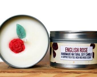 SALE - große englische Rose natürliche Soja Wachskerze