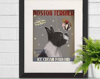 Boston terrier baby - Boston terrier Ice Cream - Boston dog print Boston dog decor Boston terrier gifts Boston terrier art Boston painting