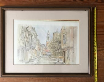 Signed Print of English Town (Trinity Street in Colchester)