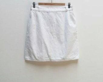 White Corduroy Skirt Vintage White Cord Skirt Women's Vintage White Mini-Skirt Ladies Corduroy High Waisted Skirt Vintage White Mini Skirt