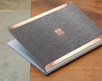 Brushed Gray and Rose Gold Edge Vinyl Skin for Microsoft Surface Book , Surface Laptop , Surface Pro 2017  - Platinum Edition