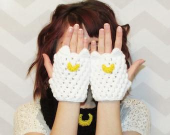 fingerless gloves, sailor moon cosplay, texting gloves, fingerless mittens, cat gloves, anime, gift for her, gift for daughter