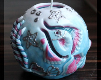 Carving - Fish - Sea - Blue - Gift for woman - Round Candle  - Carved candles - Interior  - Unusual gift