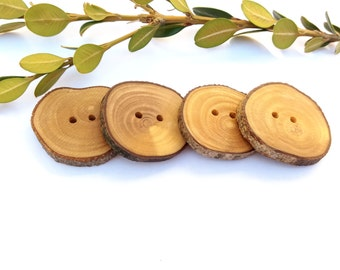 Natural Buttons Olive Branch Buttons Handmade Rustic Wood Buttons Wooden Boho Chic Buttons Eco Friendly Set of 4, 1 1/4 Inches Button 3,5 cm