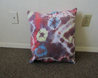 Large Shibori Dyed Throw Pillow, Red, Blue, Yellow and Mixed