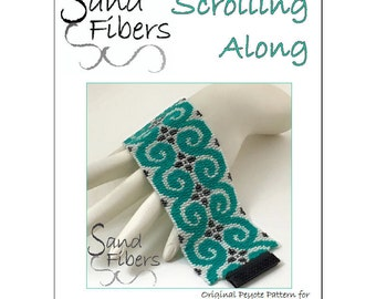 Peyote Pattern - Scrolling Along Peyote Cuff / Bracelet  - A Sand Fibers For Personal and Commercial Use PDF Pattern
