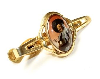 Stratton Imitation The Laughing Cavalier Picture Gold Coloured Vintage Tie Clip/Tie Bar (c1960s)