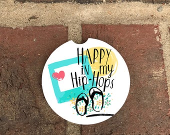 Custom Hip Hop/Flip Flop Absorbent Stone car coasters (set of 2)