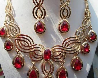 COLLIER SET BIJOUX  Bracelet Bague  boucles d'oreilles Luxe chic pour Soirées occasions spéciales cadeau femme