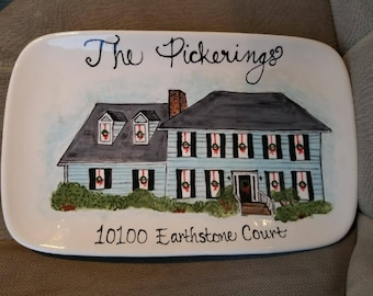 Custom, Hand Painted, Platters with Your Home on Them