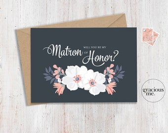 Matron of Honor Card 'Will You Be My Matron of Honor' - Wedding Card, Floral Card - Blue & Pink