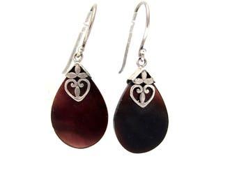 Bohemian Vintage Brown Shell Silver Earrings, Heart Teardrop Design, Sterling Silver Dangle Drop