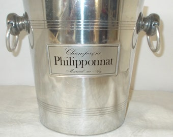 Champagne Bucket by Champagne Philipponnat Mareuil-sur-ay. Vintage French ice bucket, Home bar Parties.  Wedding bouquets, Basket (8519s)