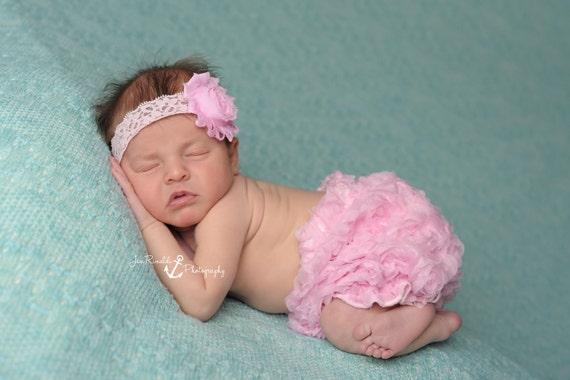 Artculos similares a Rosa diademas de beb venda recin diadema