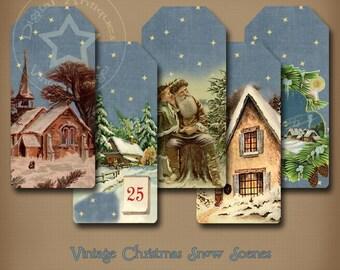 Vintage Christmas Snow Scene Tags Printable Digital Download