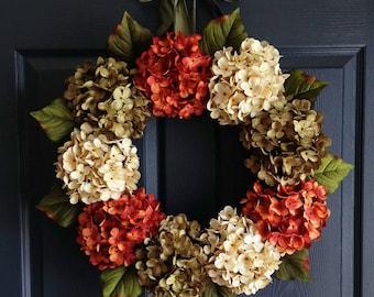 Autumn Hydrangea Wreath | Fall Wreaths | Wreaths for Door | Fall Decor | Fall Porch Decorating ideas | Autumn Door Decor | Home Decor