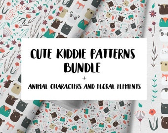 Cute kiddie patterns bundle with hand drawn animal characters and floral elements for kid's room, children's room decor, wallpaper, nursery.