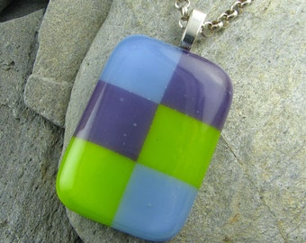 "Fused Glass ""Checkers"" Pendant in Purple, Lime & Periwinkle"