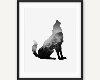 Digital Wolf Print, Printable Black and White Animal Wall Art, Abstract Poster, Minimalist Modern Decor, Forest Scandinavian Nursery Print