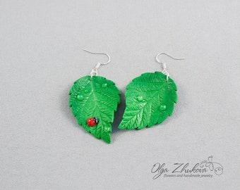 Earrings green leaves of polymer clay Green leaves with drops of dew and ladybug Cute green earrings Chandelier Earrings