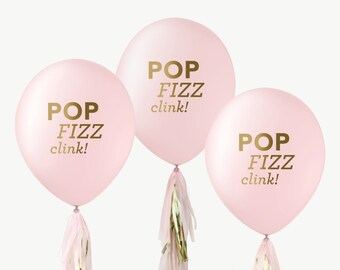 """12"""" Pink & Gold Balloons // Pop Fizz Clink! // Wedding Shower, Bridal Shower, Balloon Photo Prop, Pink, New Years Eve Decorations"""