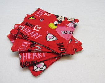 Mickey and Minnie Mouse Sealed with a Kiss Coasters (Set of Four)