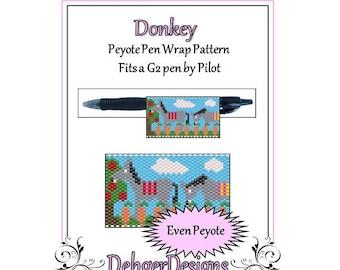 Bead Pattern Peyote(Pen Wrap/Cover)-Donkey