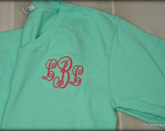 Comfort Colors V-Neck -  Short Sleeve Shirt Monogrammed Personalized T-Shirt
