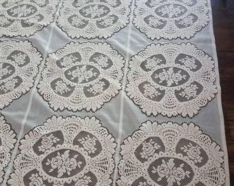 Lace ivory colored curtains antique vintage