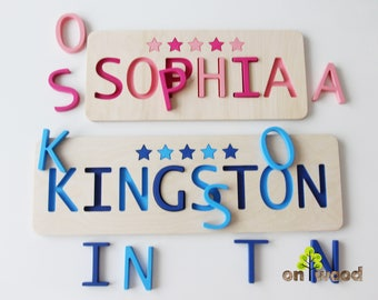 Name Puzzle for Toddlers - Personalized Puzzle - Wooden Name Puzzle - Educational Toy  -  1st Birthday Gift -  Easter gift for kids