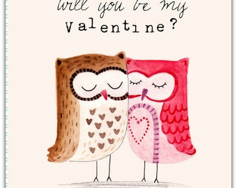 Will you be my Valentine? - hand made love friendship card - 12.5cm x 17.5cm (5'' x 7'') with envelope.