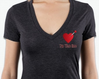"Women's Charcol V-neck ""You Were Here"" Breakup Shirt Traditional Heart with Pin"