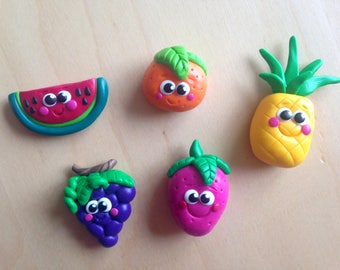 Fimo fruit magnets, polymer paste, kitchen magnets, refrigerator