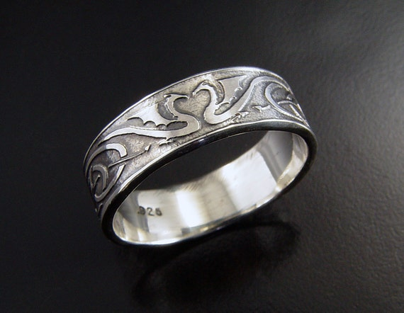 Womans Dragon Wedding Ring Sterling Silver Celtic Style