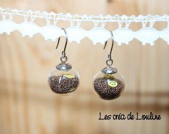 Brown Pearlescent globe earrings