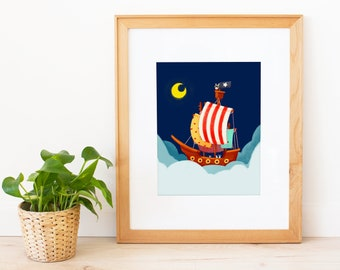 Bunnies Pirate Ship Flying To The Moon Art Print