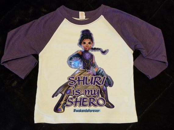 Purple Raglan - Shuri Black Panther (2T - Youth Large)