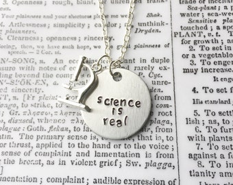 Science is real, science jewelry, scientist, feminist necklace, resist, feminist gift, girl power, feminism, girl power jewelry
