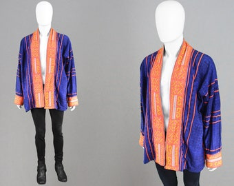 Vintage 70s Mens Woven Jacket Tribal Cotton Jacket Blue & Orange Kimono Jacket Tapestry Jacket Guatemalan Jacket Printed Hippie Coat Summer