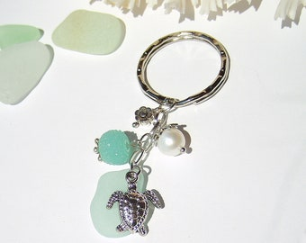 Sea Glass Keychain, Beach Keychain, Car Accessories, Seaglass Keychain Starfsh Pearl, Beach Glass Keyring, Beach Gift, Flip Flop Keychain