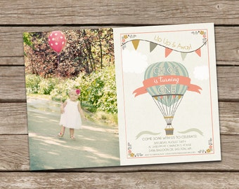 Hot Air Balloon Girl Birthday Invitation