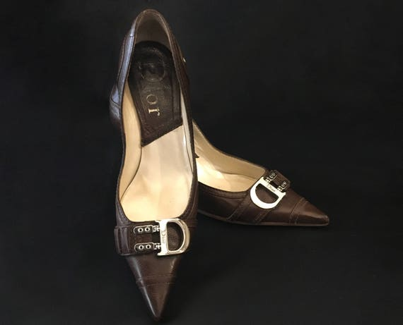 Vintage Shoes 6 CD Chic Brown Leather Pointed toe Heels Shoes Dior Shoes High Woman Pumps Size Buckle Shoes Fashion dHwxaYdq4