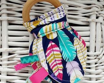 Boho Feather Crinkle Teething Toy - Organic Wood/Fleece, Purple, Natural Teething, Teether, Baby Stocking Stuffer