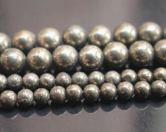 6/8/10mm Iron Pyrite Round Gemstone Beads.15 Inch Full Strand