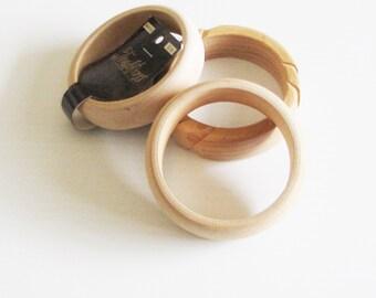 Set of 3 Wood Bangle Bracelets, Assorted Wood Bracelets for Jewelry Making, Smooth Sanded Bracelets