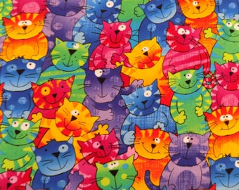 Cat Fabric Colorful Cats Material Kitty Fabric Cotton Material Timeless Treasures  Novelty Fabric Sewing Fabric Quilting Fabric Craft Supply