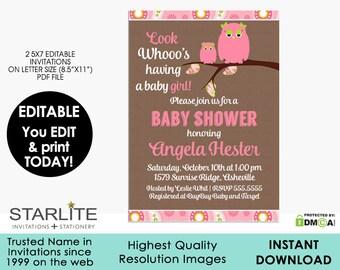 Girl Baby Shower Invitation Owl, EDITABLE Girl Baby Shower Invitation, Pink Brown Owl Paisley Cheap Sprinkle Invitation INSTANT DOWNLOAD