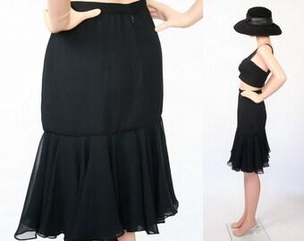 Vintage Cocktail Skirt / Mermaid Hem / Black Ruffle Skirt / Midi Skirt / Evening Party / New Romantic / Medium / Large